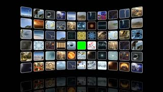 Animated curved video wall with icons and green screen. Loop-able. 3D rendering 4K
