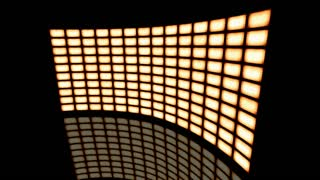 Animated distorted curved video wall vintage sepia turned to right. Loop-able. 3d rendering 4K