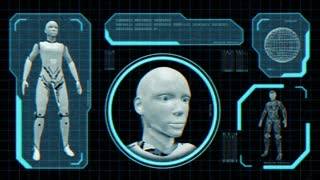 Animated distorted monitor screen with robot blueprint in sci fi style. Loop-able. 3d rendering