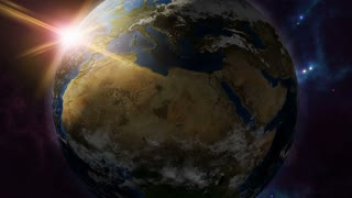 Animated earth zodiac horoscope symbol and planet. 3D rendering 4K