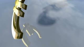 Animated falling shiny Euro money sign. 3d rendering 4K