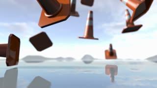 Animated falling traffic cone pilons. 3D rendering 4K