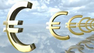 Animated golden Euro money signs loop-able. 3d rendering 4K