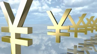 Animated golden yen money signs in a row. 3D rendering 4K