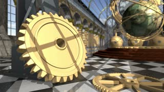 Animated mechanical devices in victorian interior. 3D rendering. 4K