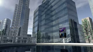 Animated modern business company district 4K