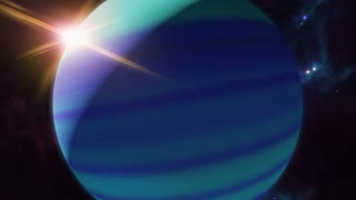 Animated neptune zodiac horoscope symbol and planet. 3D rendering 4K