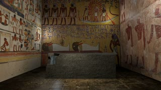 Animated pharaoh tomb in ancient Egypt with closing doors. 3D rendering