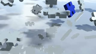 Animated puzzle pieces design in particles. 3D rendering 4K