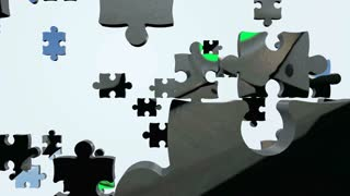 Animated puzzle pieces with sci fi panther. 3D rendering 4K
