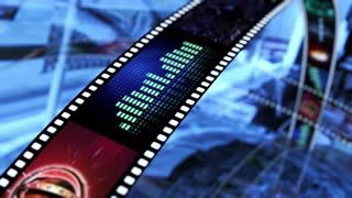 Animated rotating film reels. Black, blue and red 4K