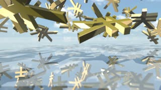 Animated shiny yen money signs falling down. 3D rendering 4K