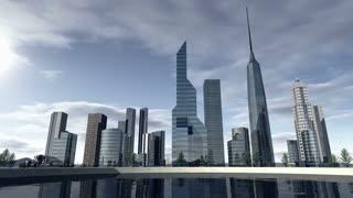 Animated skyline of a modern city 4K