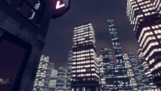 Animated skyscraper hotel in a big city 4K