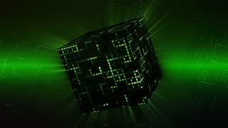 Animated space cube rotating