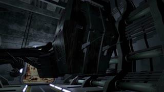 Animated spaceship in a futuristic corridor 4K