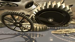 Animated steampunk vintage clockwork wheels fallen down. 3D rendering. 4K