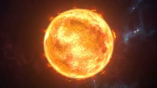 Animated sun the burning planet in cosmic scene. 3D rendering 4K