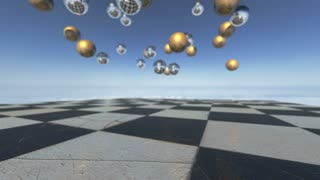 Animated surreal oprganic spheres falling down on a checkerboard. 3D rendering. 4K