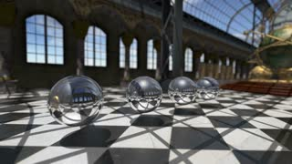 Animated surreal oprganic spheres in steampunk victorian interior. 3D rendering. 4K