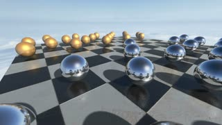 Animated surreal transparent spheres on a checkerboard. 3D rendering. 4K