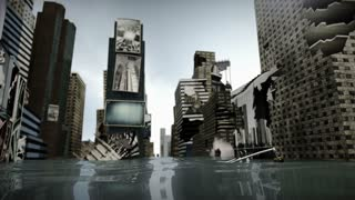 Animated Time Square New York Manhattan, damaged road under water loop. 3D rendering