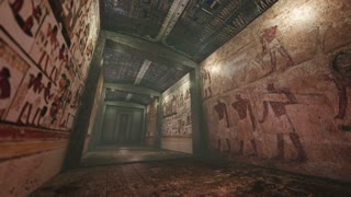 Animated tomb with old wallpaintings in ancient Egypt 4K