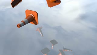 Animated traffic cone pilons falling down. 3D rendering 4K