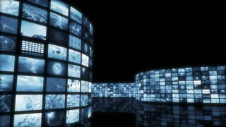 Animated unrolling entertainment video wall. Loop-able. 3D rendering 4K