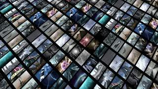 Animated video wall, diagonally. Loop-able 4K