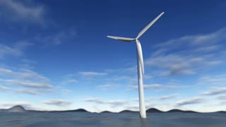 Animated wind turbine in an ocean with blue sky