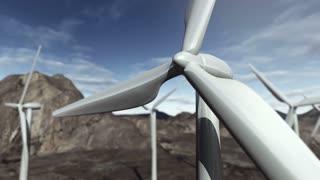 Animated wind turbines. 4K