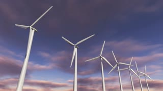 Animated wind turbines in a row. Loop-able 4K