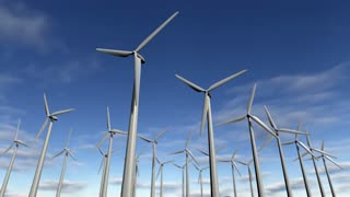 Animated wind turbines in a windfarm. Loop-able 4K
