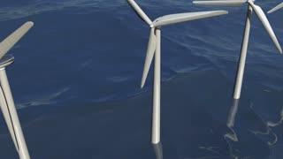 Animated wind turbines in an ocean windfarm