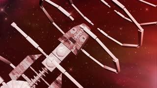 Animation of a futuristic spaceship entering a gateway