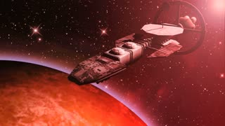 Animation of a futuristic spaceship flying over a red planet