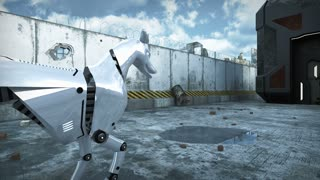 Animation of a robot dog in apocalyptic city. 3D rendering