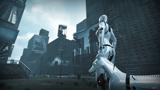 Animation of a robot woman and robot dog in ruined city.