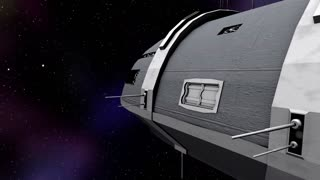 Animation of cargo moving into a futuristic space ship