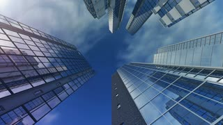 Animation of exteriors of skyscrapers. 4K