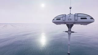 Animation of futuristic sci fi stations hoovering above ocean 4K