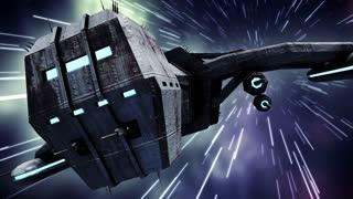 Animation of futuristic spaceship in warp speed