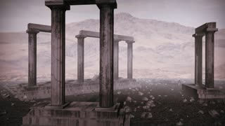 Animation of moving around the remains of an ancient greek temple
