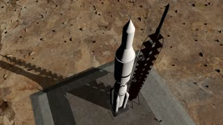 Animation of rocket launch close-up
