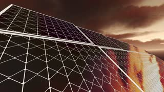 Animation of solar panels with red sky