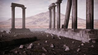 Animation the remains of an ancient greek temple