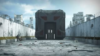 Artificial cube building in an apocalyptic city