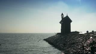 Beacon at the Ijsselmeer. Volendam, The Netherlands 4K
