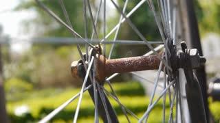 Bicycle wheel rotating close up
